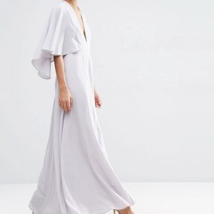 ASOS Deep Plunge Cape Sleeve Maxi Dress - Lavender